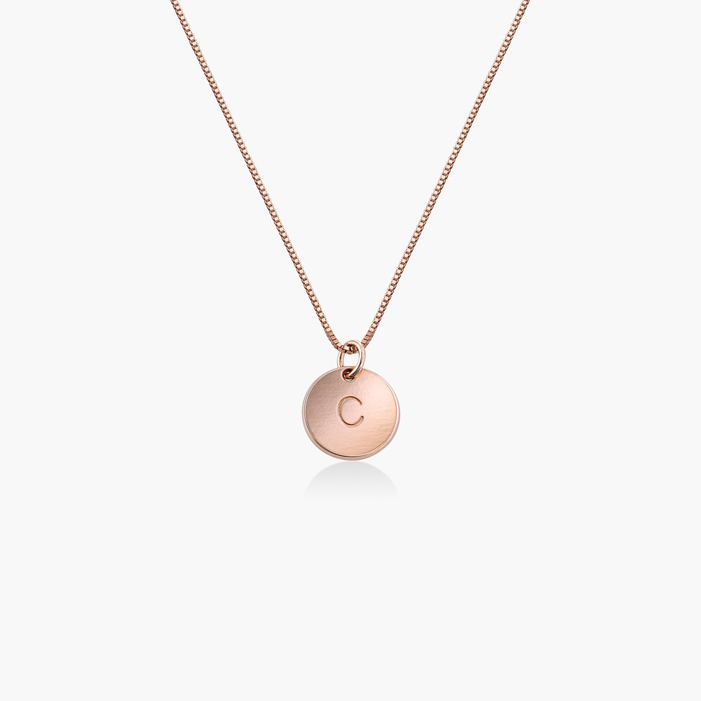Willow Disc Initial Necklace - Rose Gold Plating