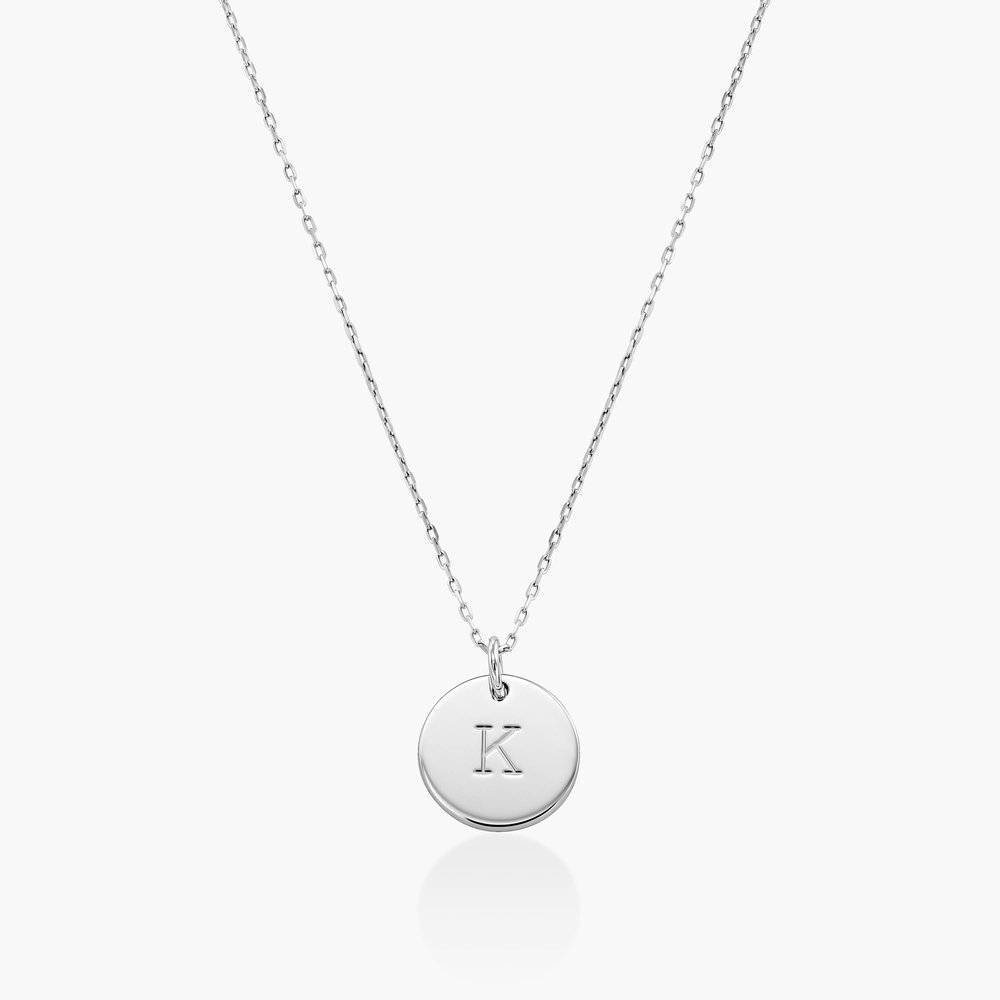 Willow Disc Initial Necklace - 10k White Solid Gold