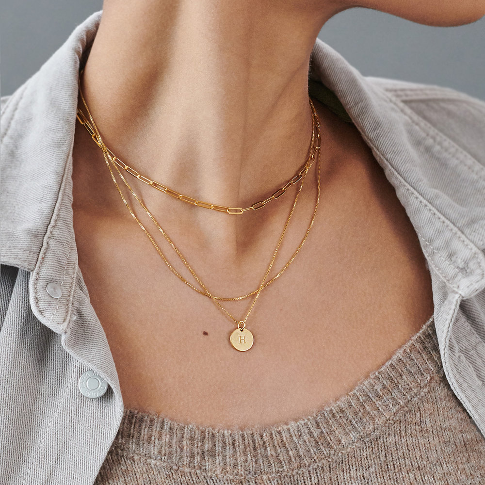 Willow Disc Initial Necklace - Gold Vermeil - 2