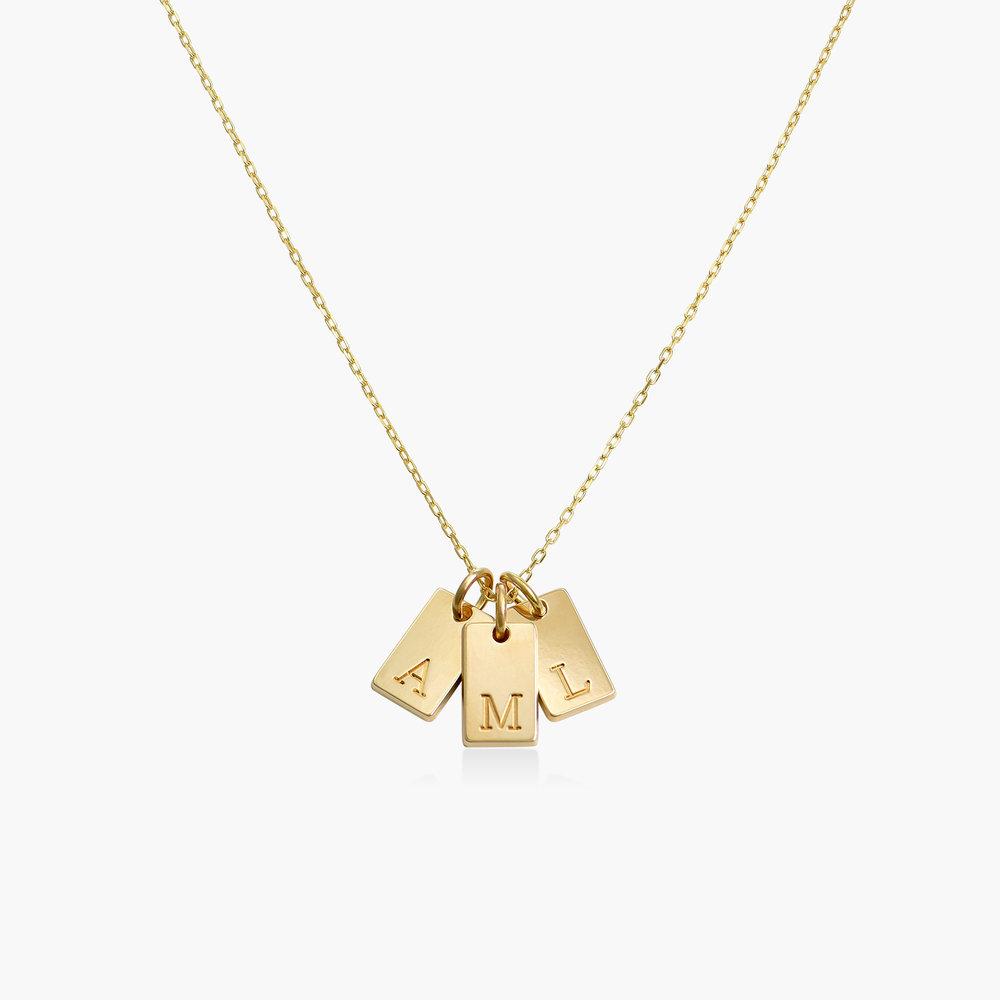 Willow tag Initial Necklace - 14K Solid Gold