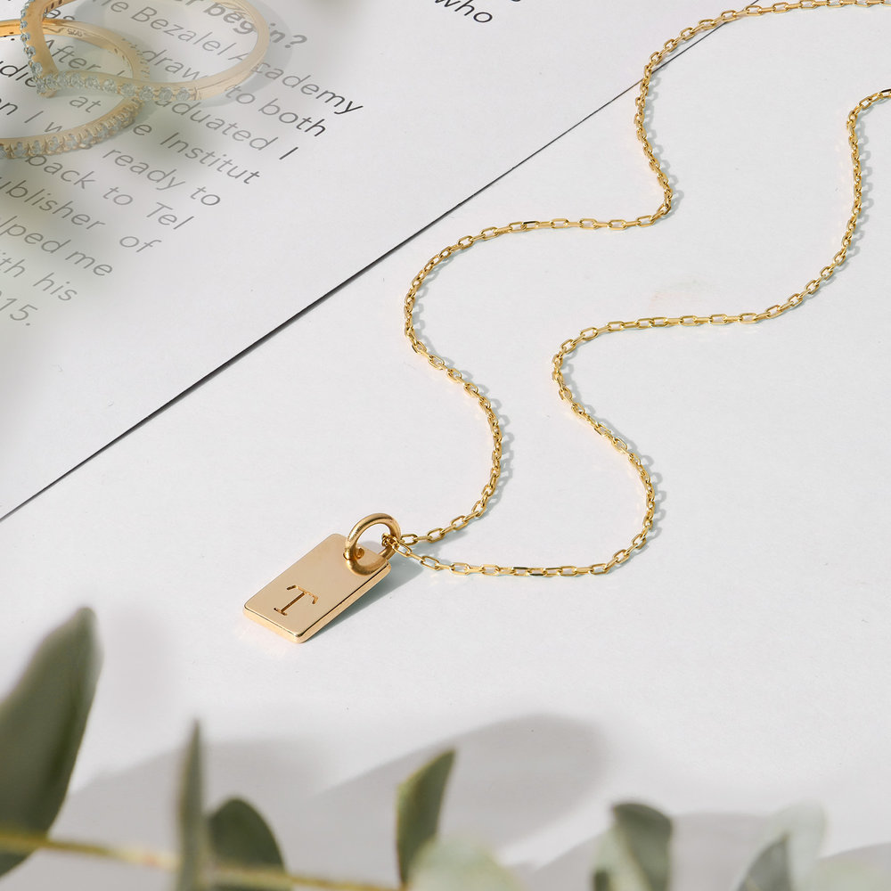 Willow tag Initial Necklace - 14K Solid Gold - 1