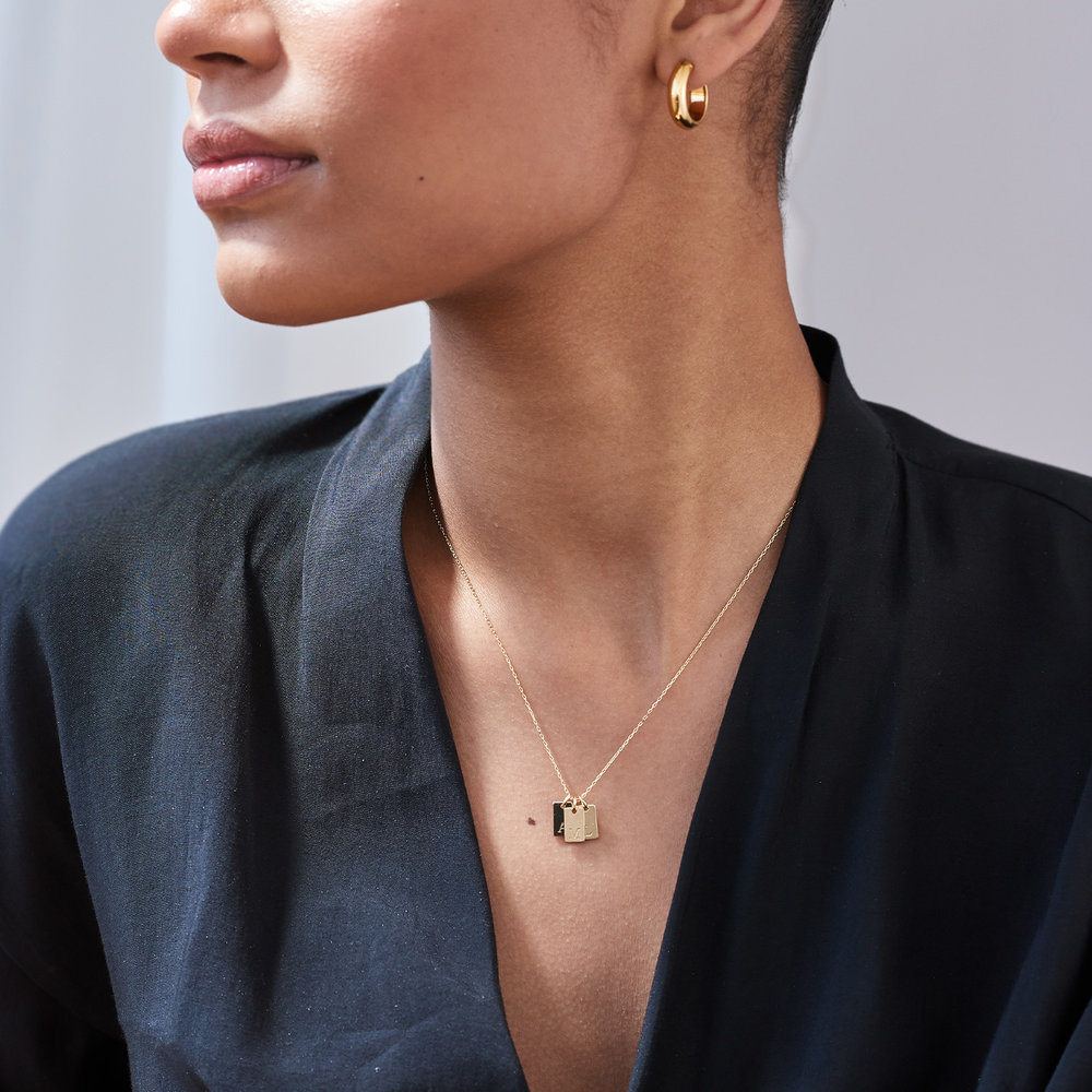 Willow tag Initial Necklace - 14K Solid Gold - 2