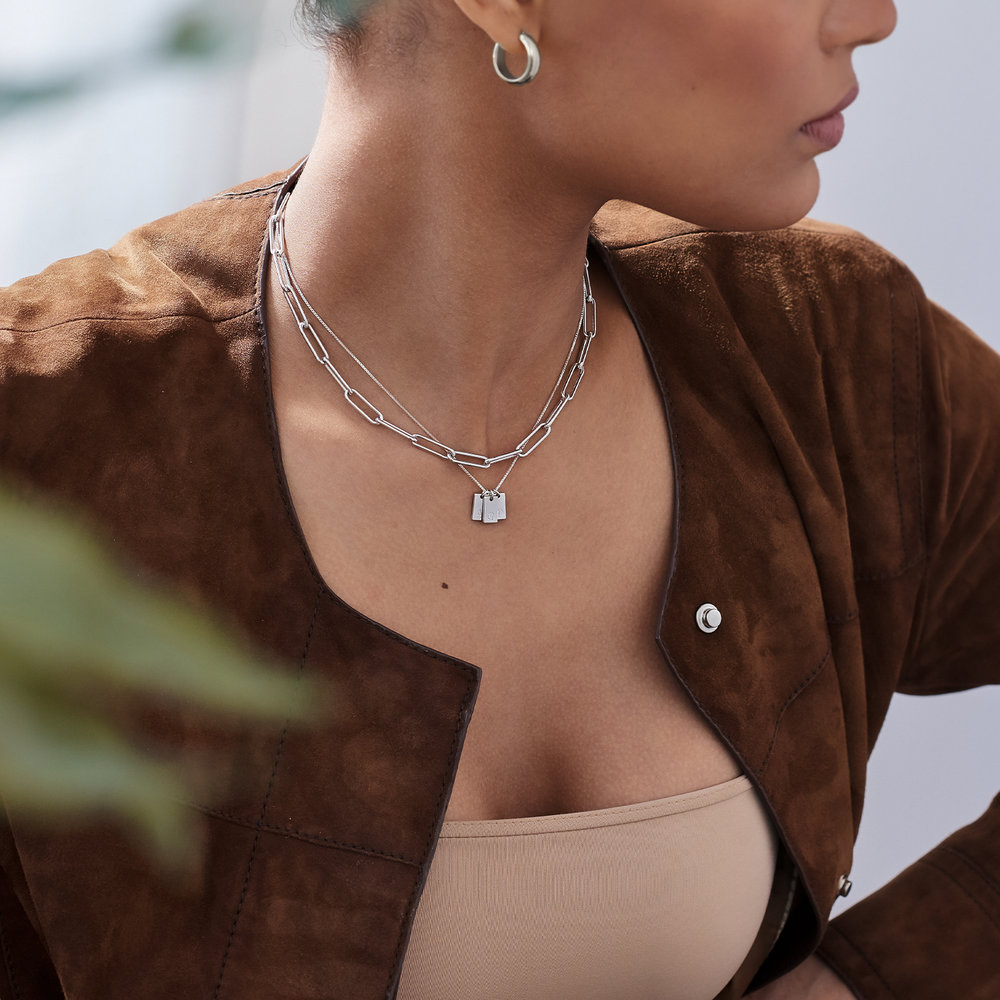 Willow Tag Initial Necklace - Sterling Silver - 3