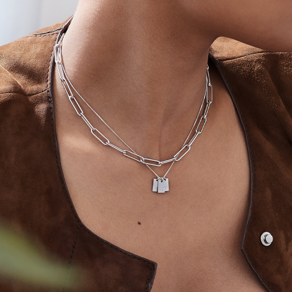 Willow Tag Initial Necklace - Sterling Silver - 4