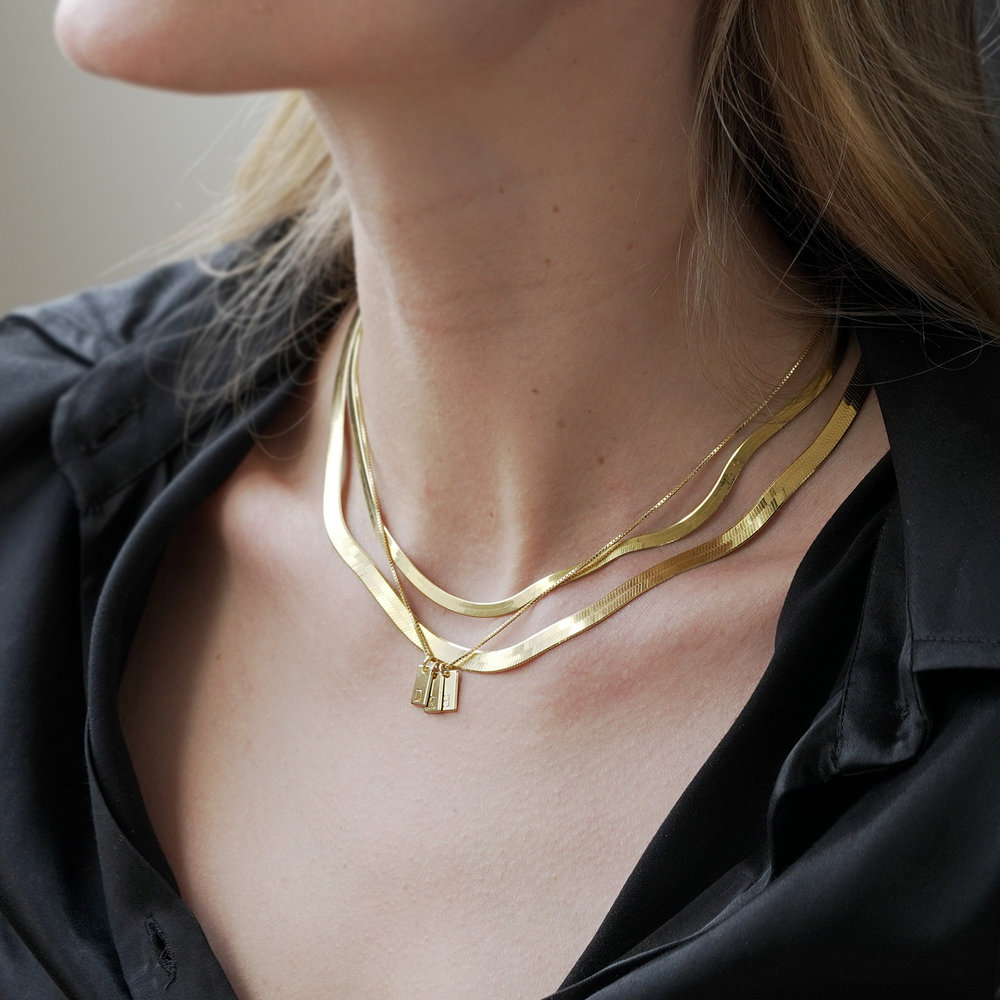 Willow Tag Initial Necklace - Gold Plating - 5