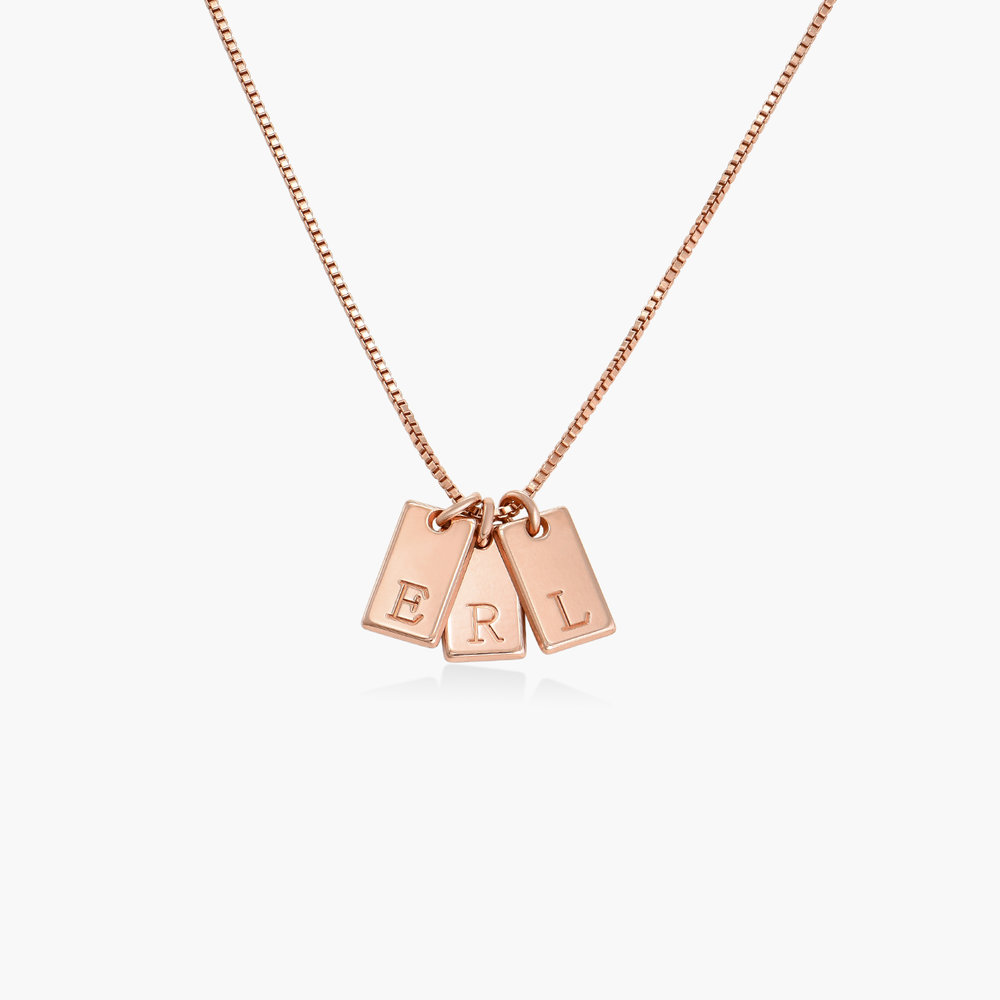 Willow Tag Initial Necklace - Rose Gold Plating - 1