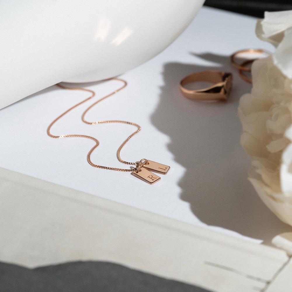 Willow Tag Initial Necklace - Rose Gold Plating - 2