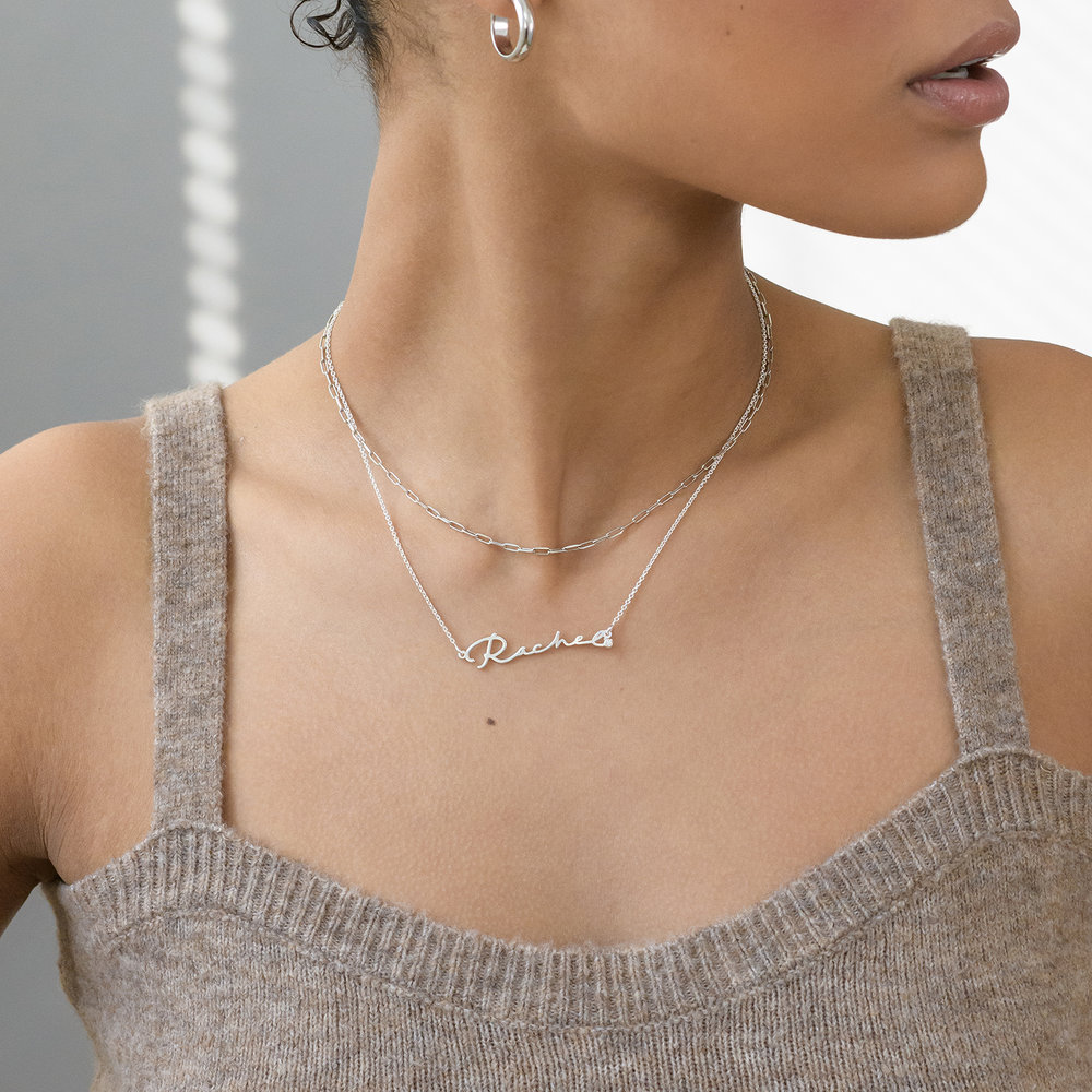 Rainey Thin Chain Link Necklace - Sterling Silver - 2