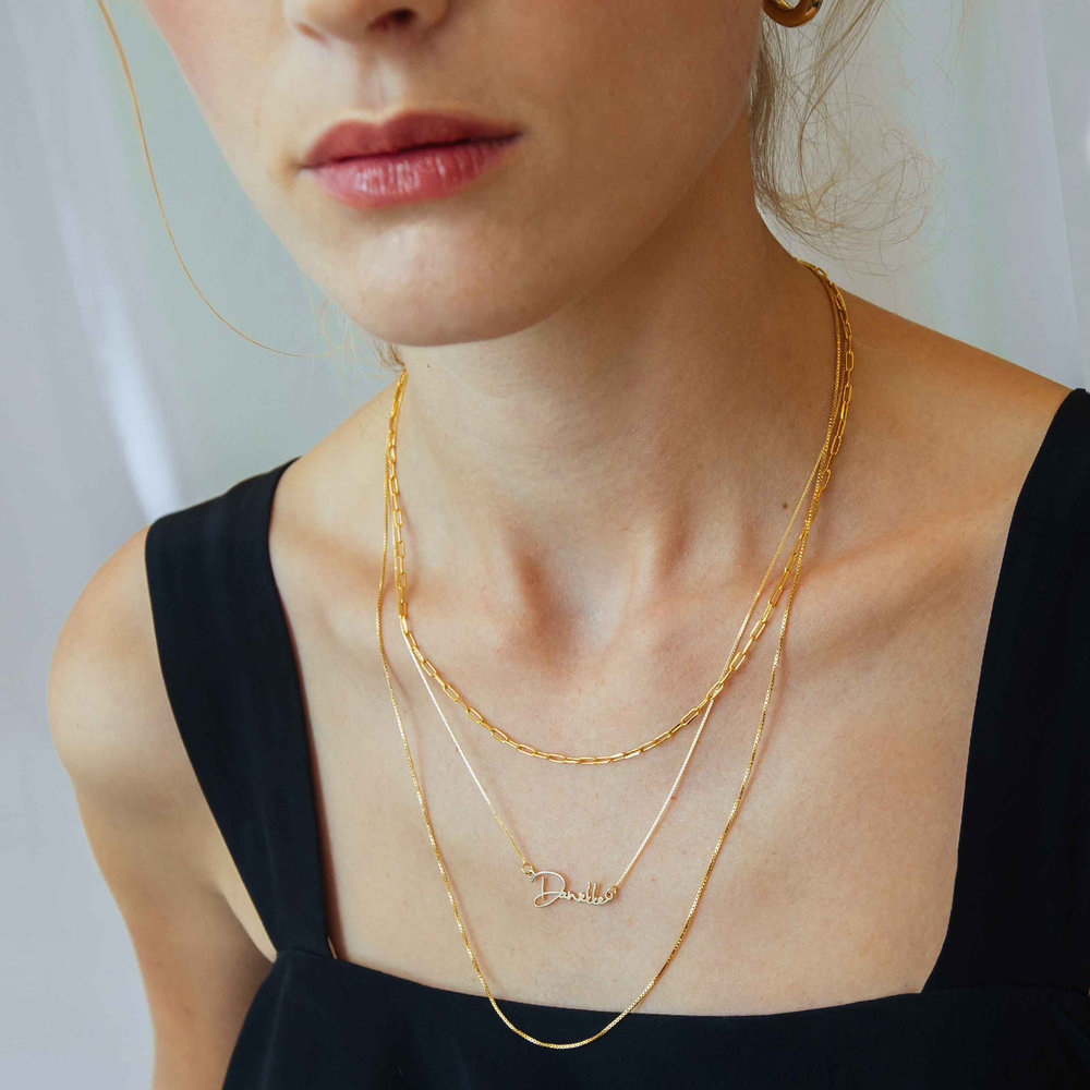 Rainey Chain Link Necklace - Gold Plated - 1