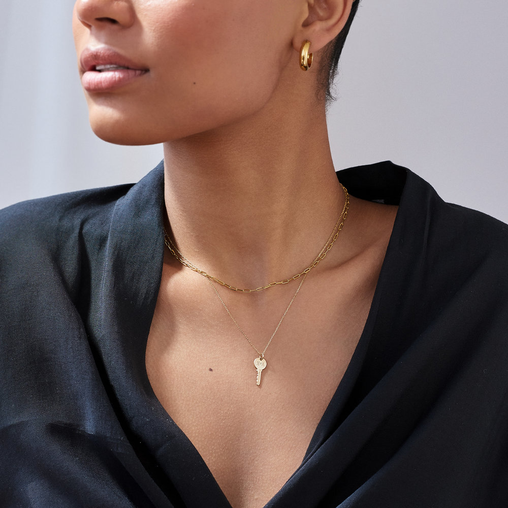 Rainey Thin Chain Link Necklace - 10k Gold - 2