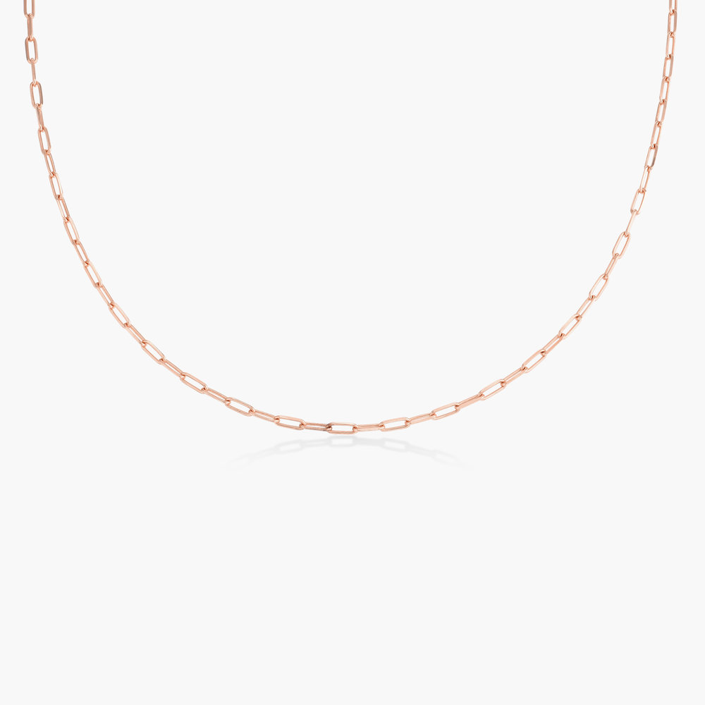 Rainey Thin Chain Link Necklace - Rose Gold Plating