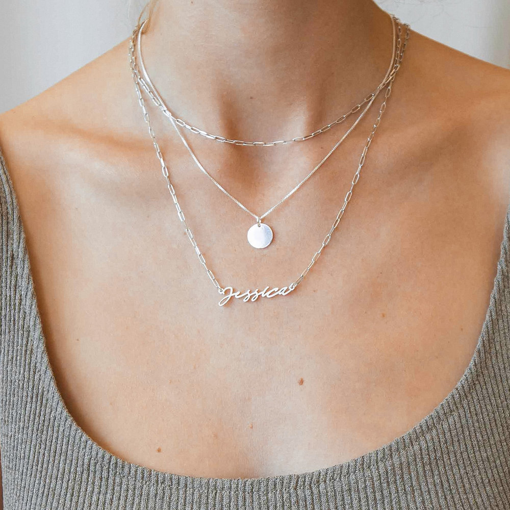 Willow Disc Necklace - Sterling Silver - 1