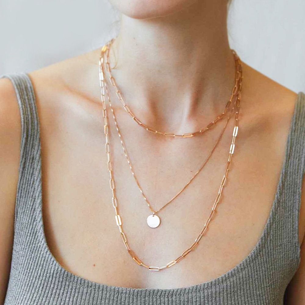 Willow Disc Necklace - Rose Gold Plating - 2