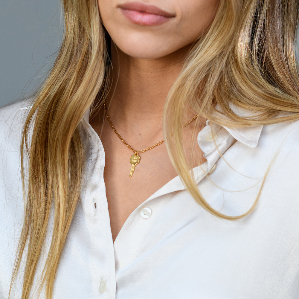 Key Link Chain Necklace- Gold Plating - 1