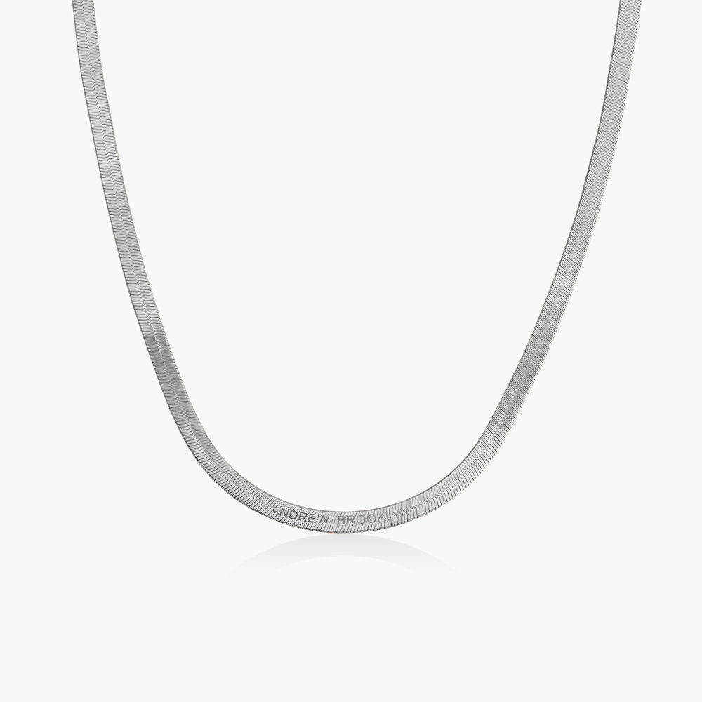 Herringbone Chain Necklace in Sterling Silver