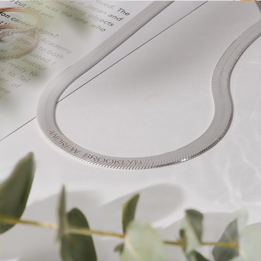 Herringbone Chain Necklace in Sterling Silver - 2