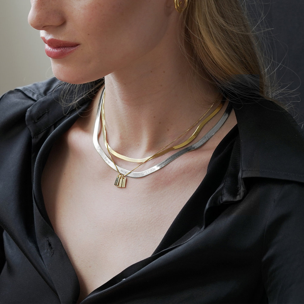 Herringbone Chain Necklace in Sterling Silver - 3