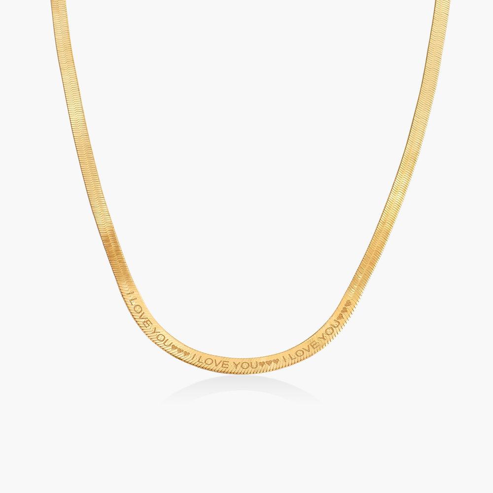 Herringbone Chain Necklace in Gold Plating