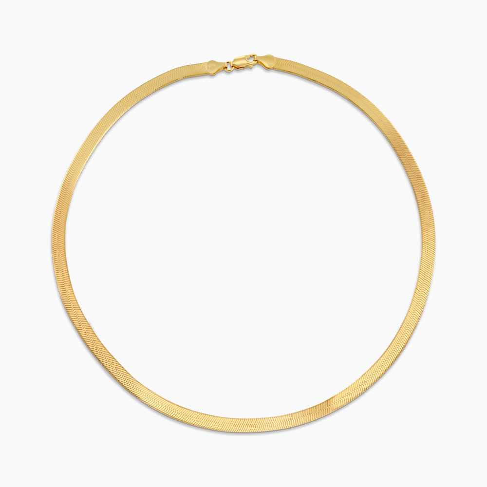 Herringbone Chain Necklace in Gold Plating - 1