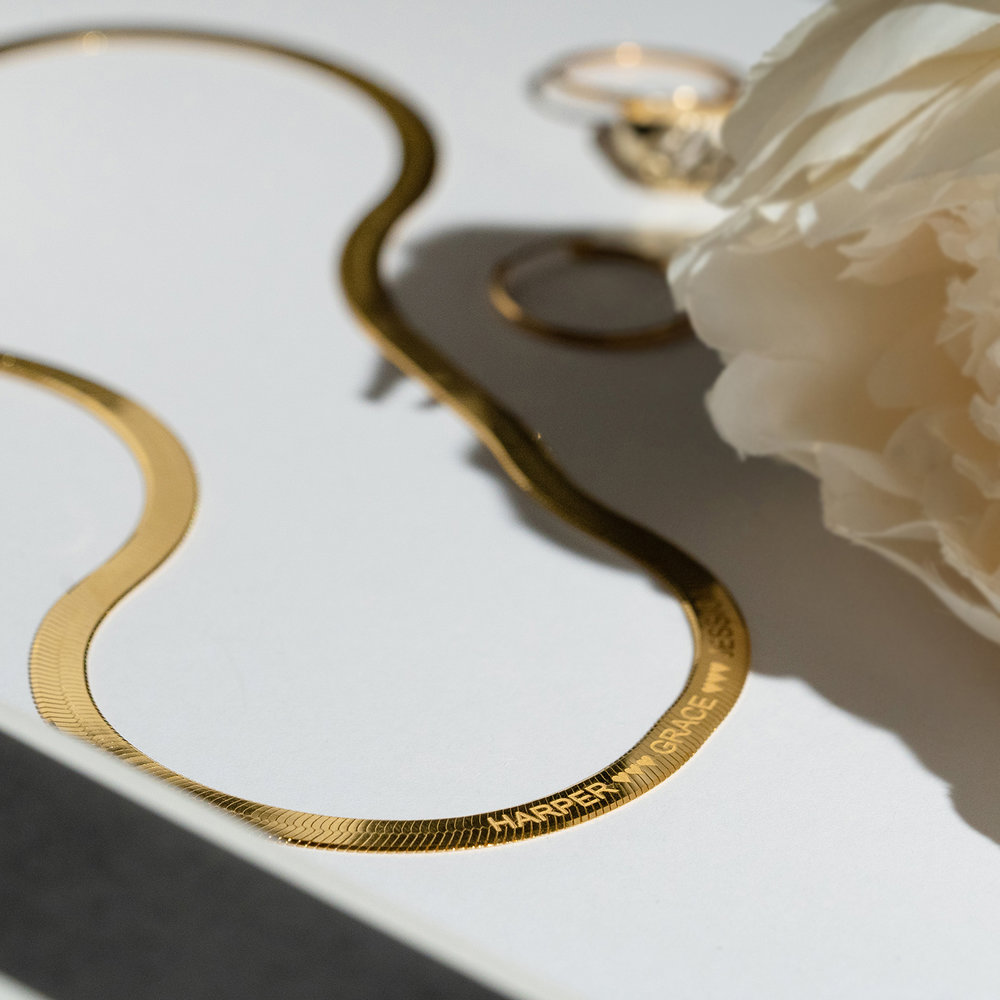 Herringbone Chain Necklace in Gold Plating - 2