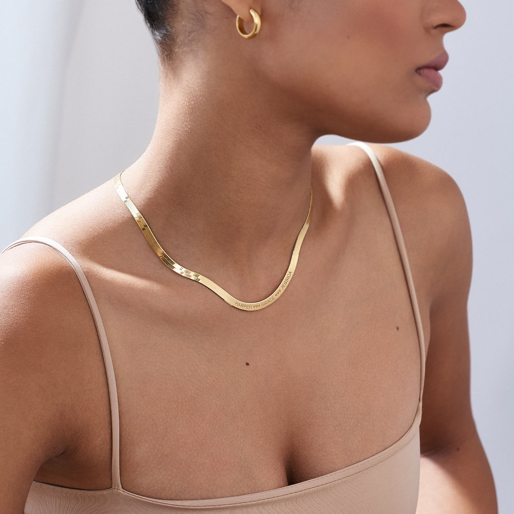 Herringbone Chain Necklace in Gold Plating - 3