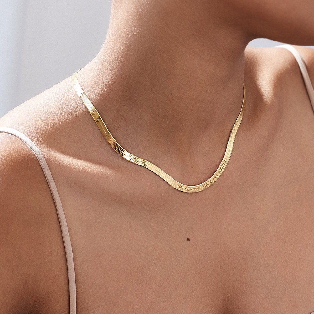 Herringbone Chain Necklace in Gold Plating - 4