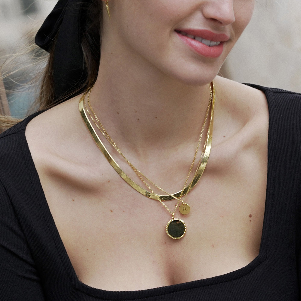 Herringbone Chain Necklace in Gold Plating - 5