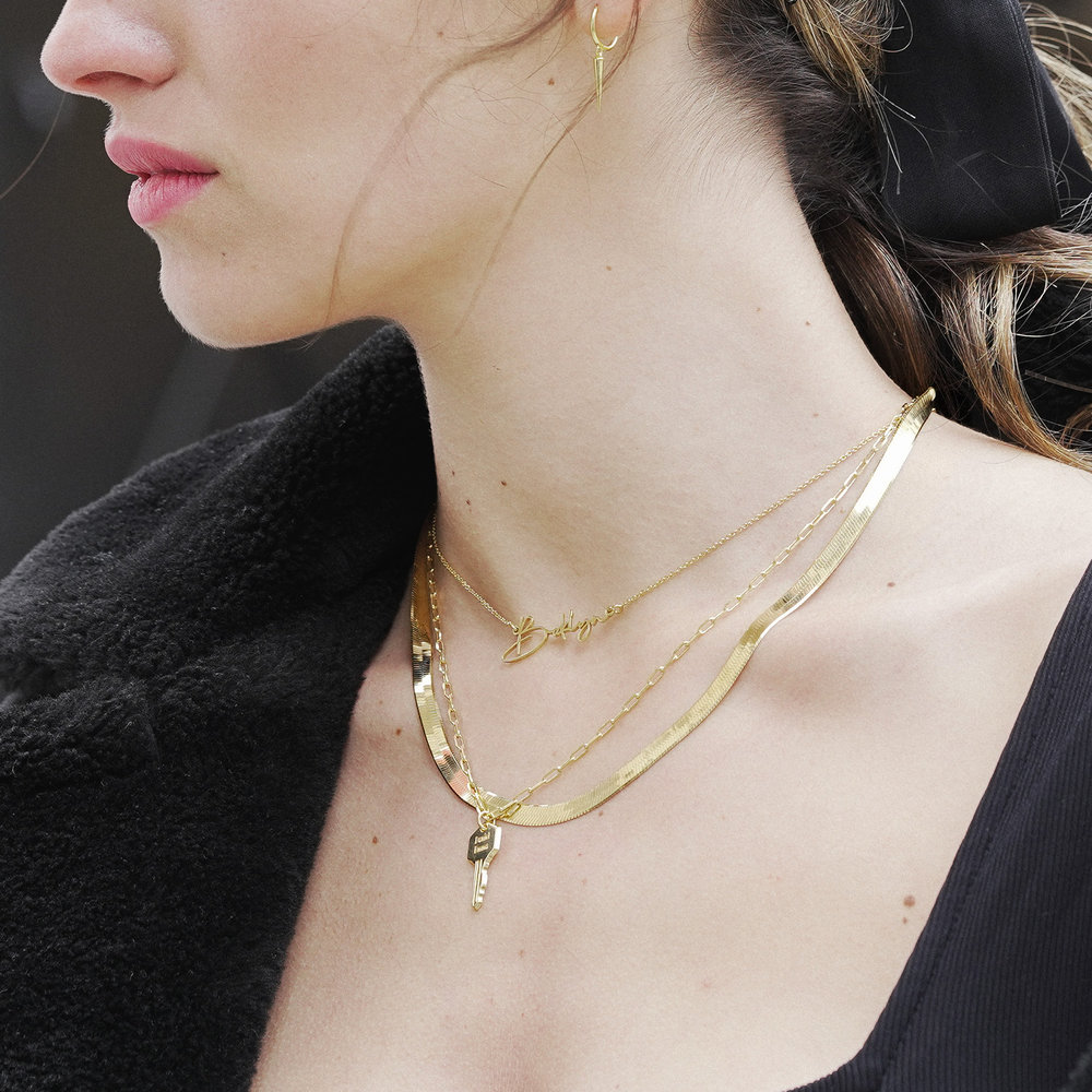 Herringbone Chain Necklace in Gold Plating - 6