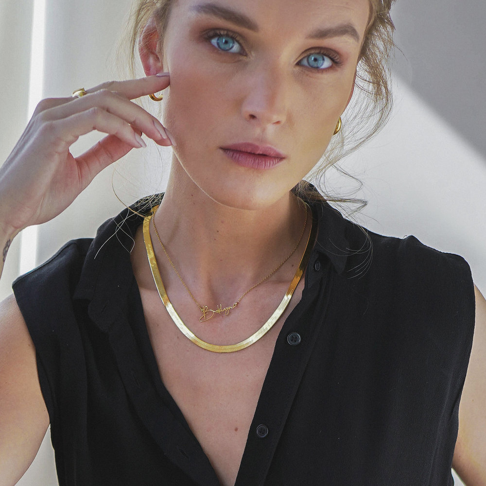 Herringbone Chain Necklace - Gold Vermeil - 5