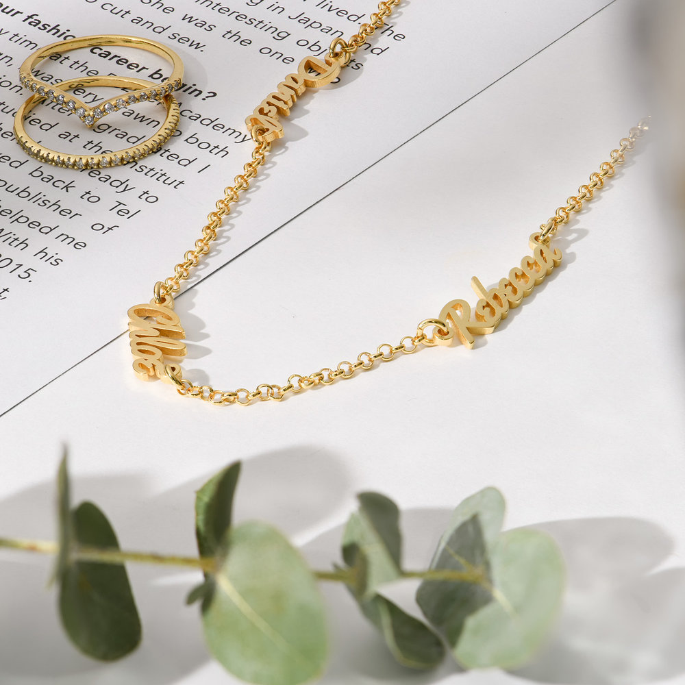 Real Love Multiple Name Necklace - Gold Plated - 1