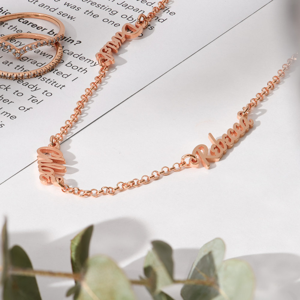 Real Love Multiple Name Necklace - Rose Gold Plated - 1
