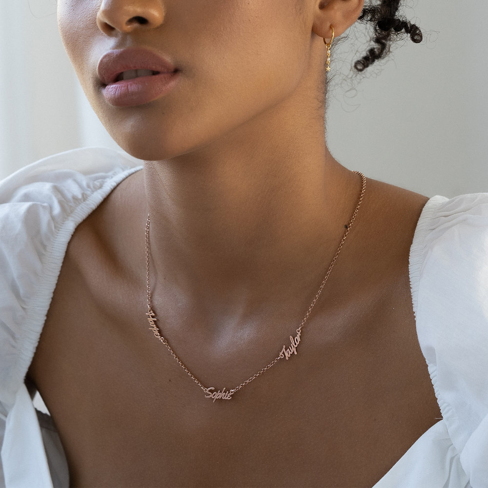 Real Love Multiple Name Necklace - Rose Gold Plated - 2