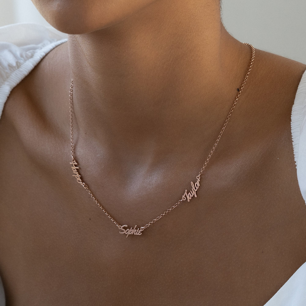Real Love Multiple Name Necklace - Rose Gold Plated - 3