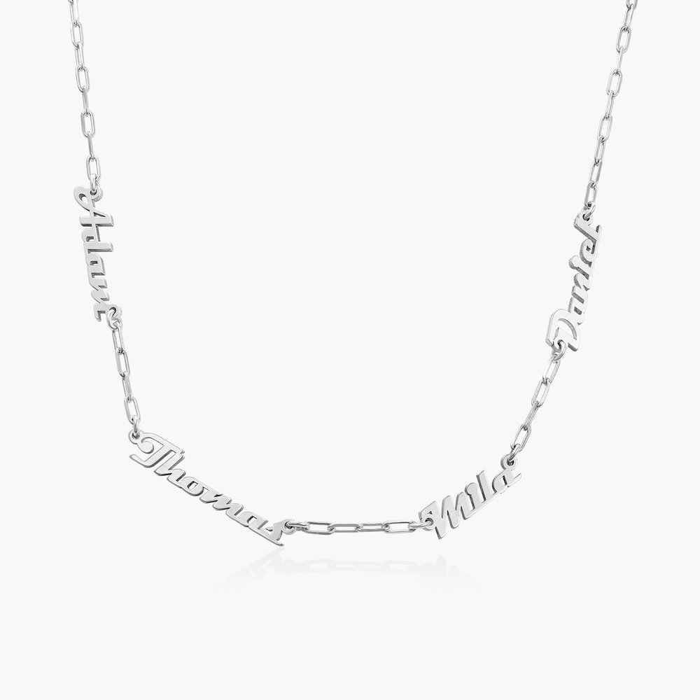 Multiple Link Name Necklace - Sterling Silver