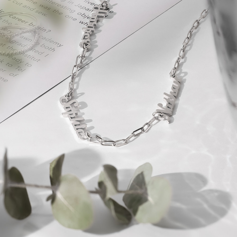 Multiple Link Name Necklace - Sterling Silver - 1