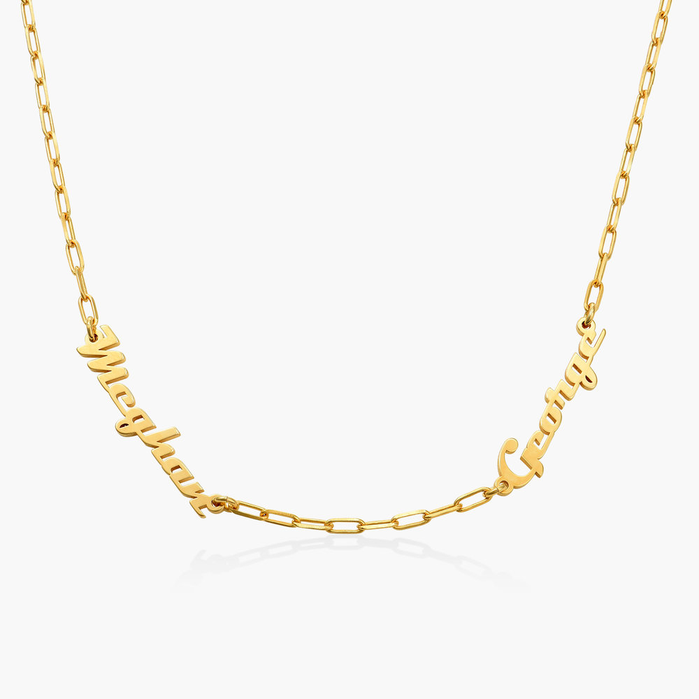 Multiple Link Name Necklace - Gold Plated