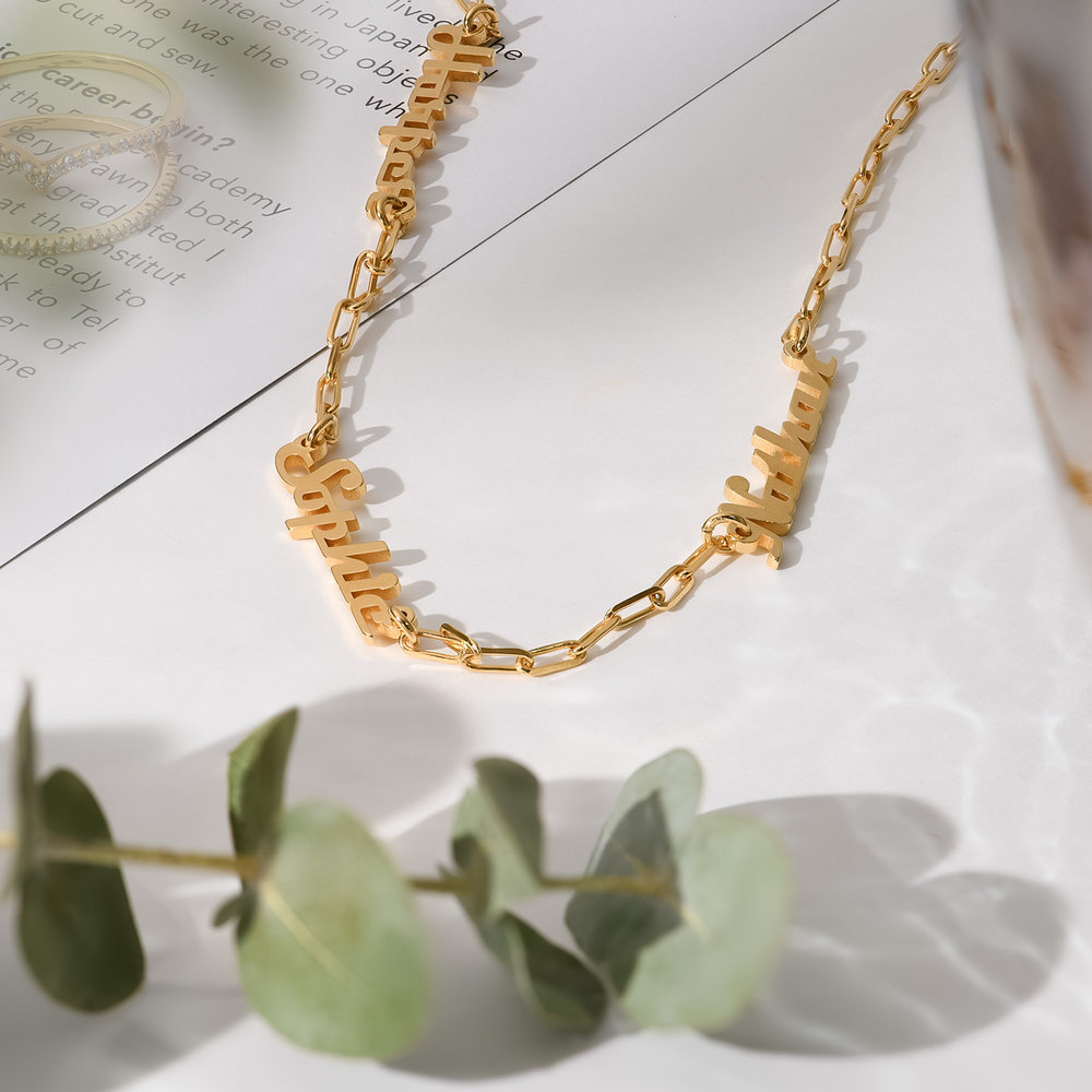 Multiple Link Name Necklace - Gold Plated - 1