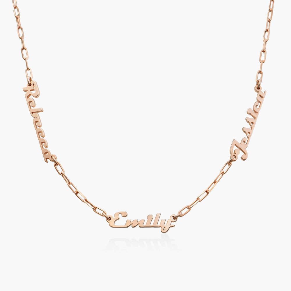 Multiple Link Name Necklace - Rose Gold Plated