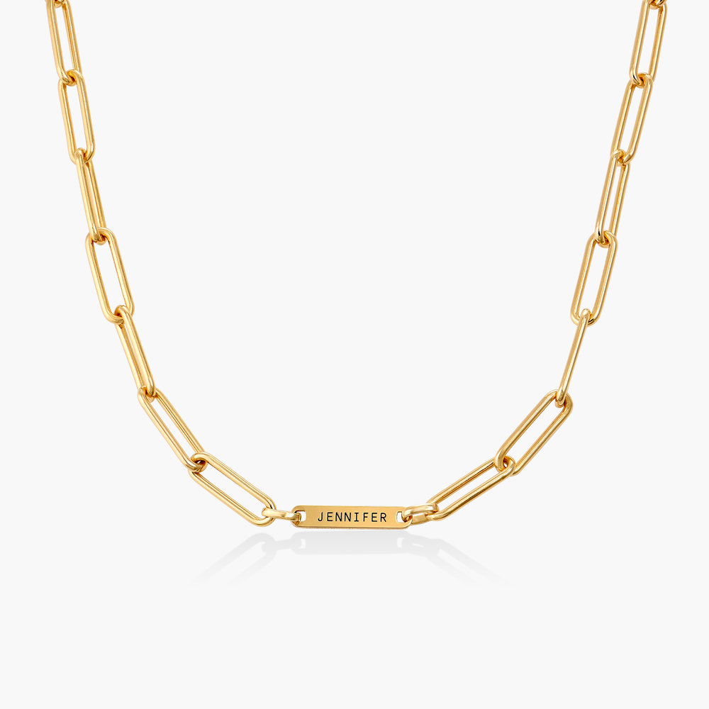 Ivy Name Link Chain Necklace - Gold Plating