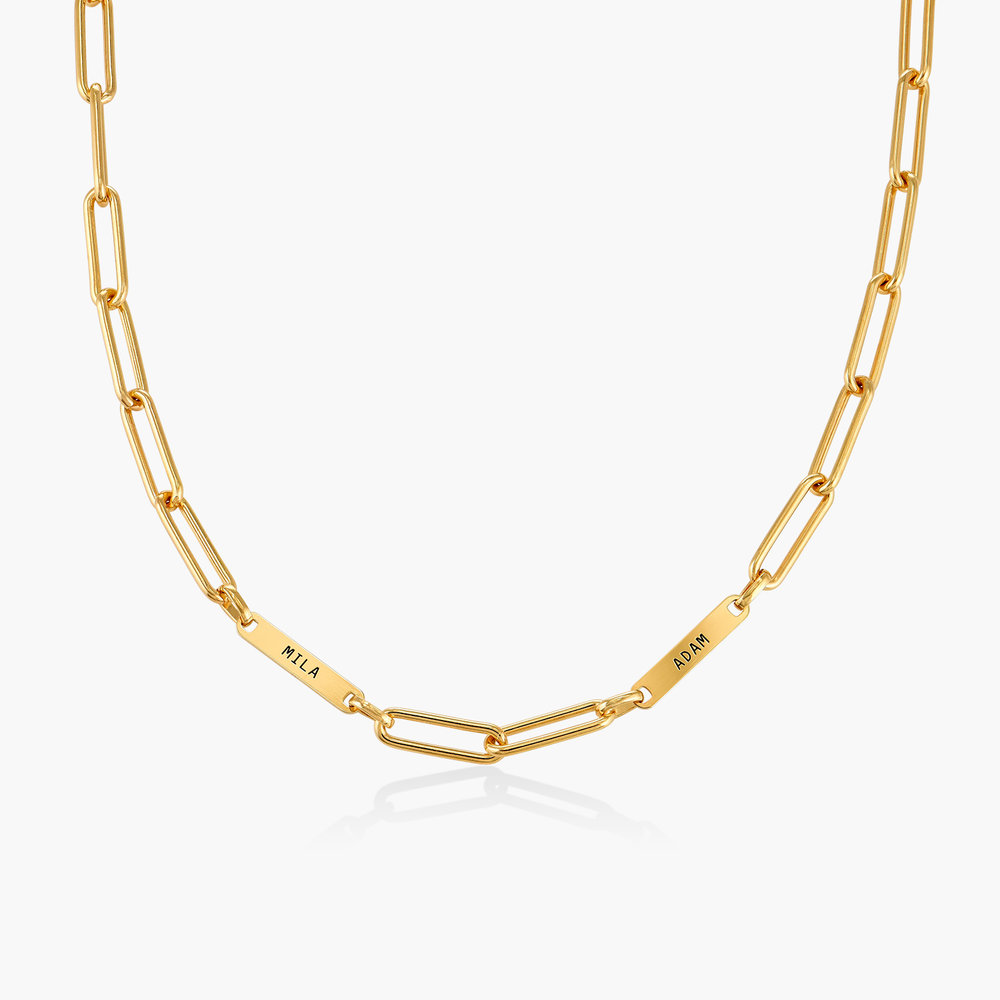 Ivy Name Paperclip Chain Necklace - Gold Plating - 1