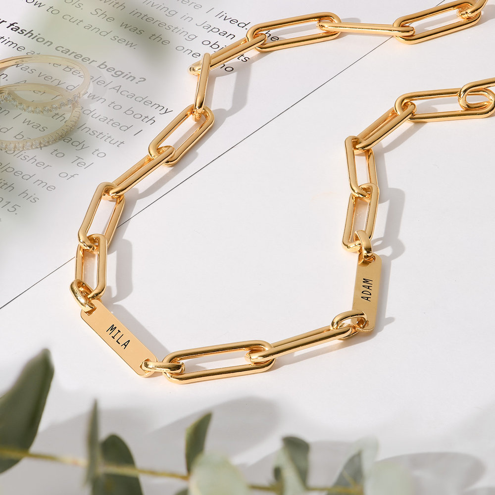 Ivy Name Paperclip Chain Necklace - Gold Plating - 2