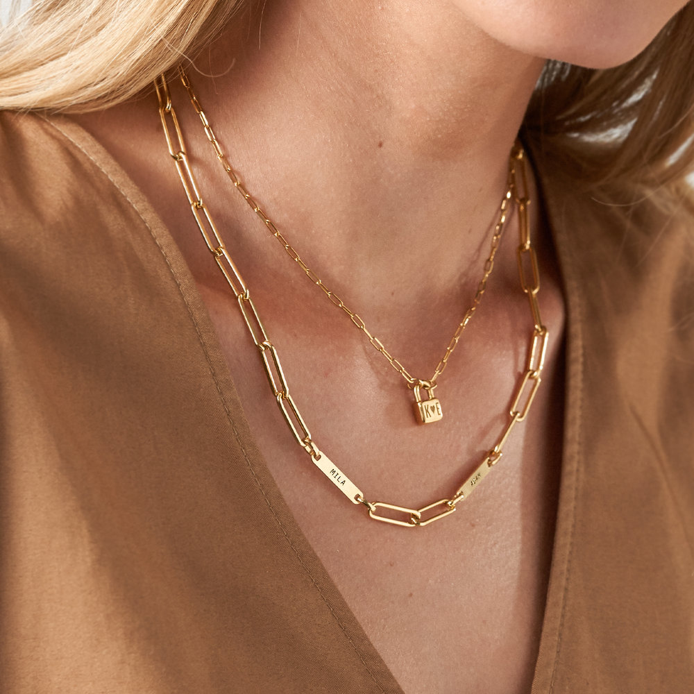 Ivy Name Paperclip Chain Necklace - Gold Plating - 3