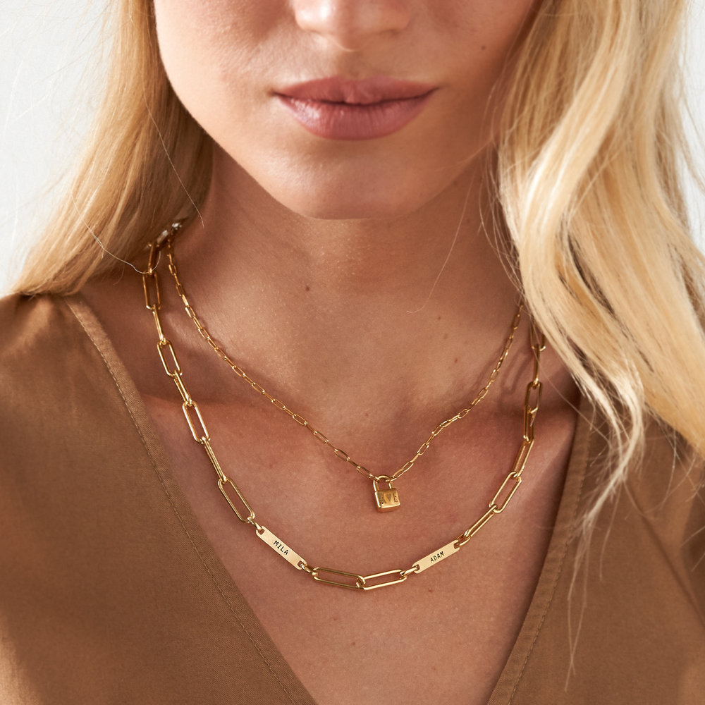 Ivy Name Paperclip Chain Necklace - Gold Plating - 4