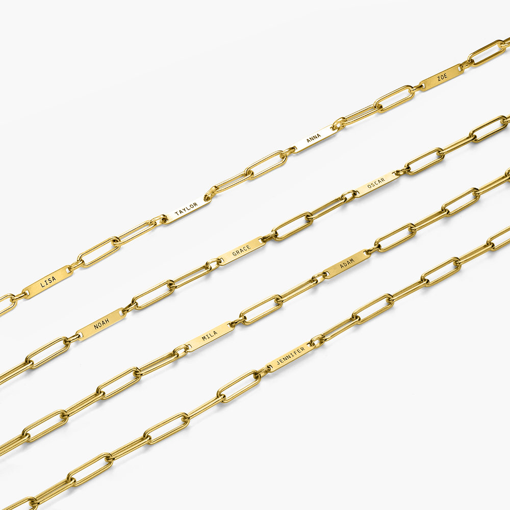 Ivy Name Paperclip Chain Necklace - Gold Plating - 5