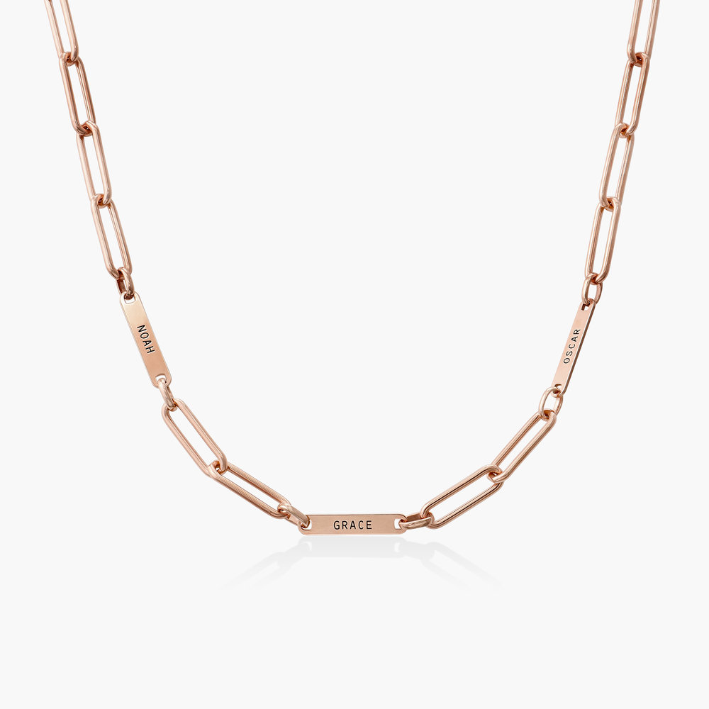 Ivy Name Paperclip Chain Necklace - Rose Gold Plating