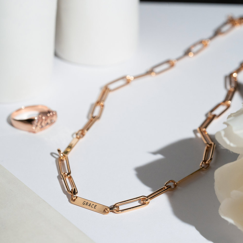 Ivy Name Link Chain Necklace - Rose Gold Plating - 1