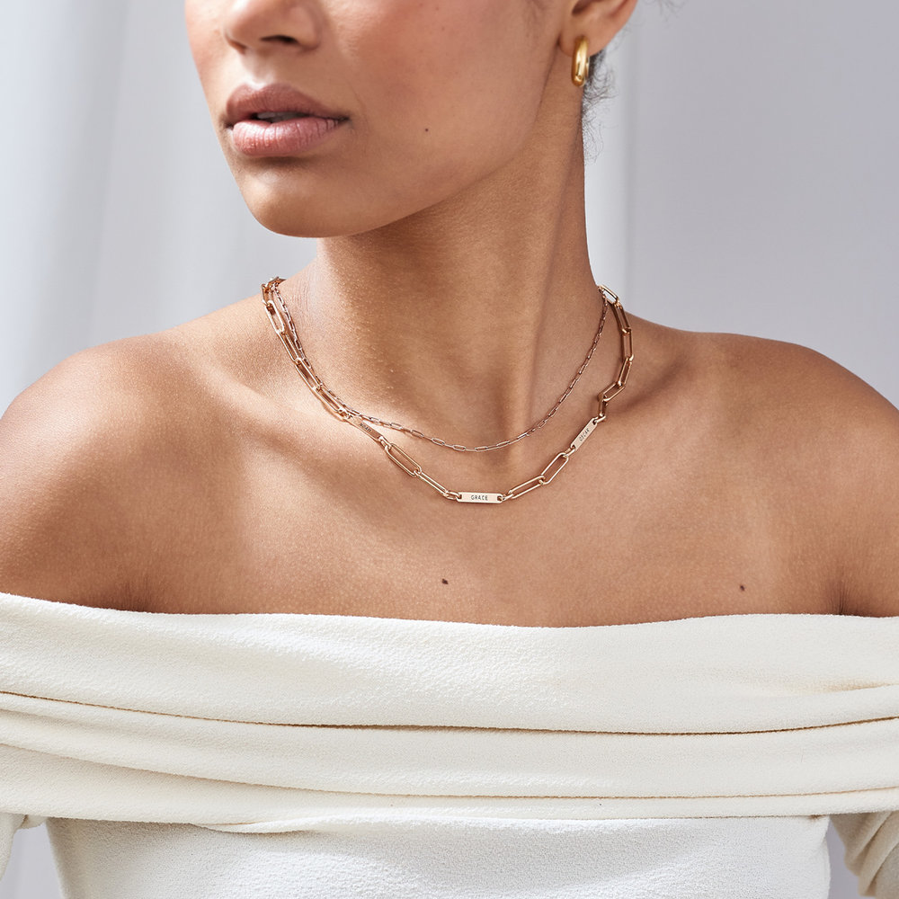 Ivy Name Link Chain Necklace - Rose Gold Plating - 2