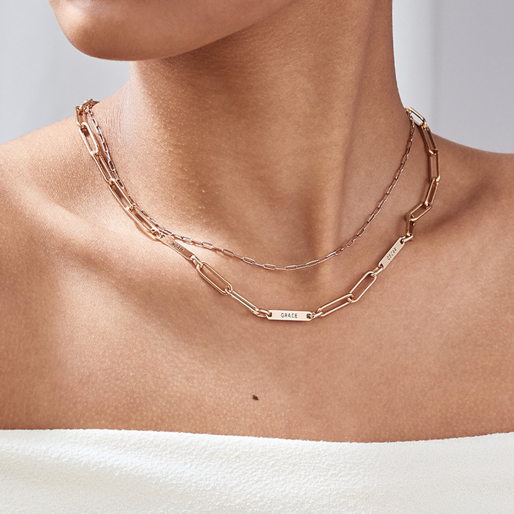 Ivy Name Link Chain Necklace - Rose Gold Plating - 3