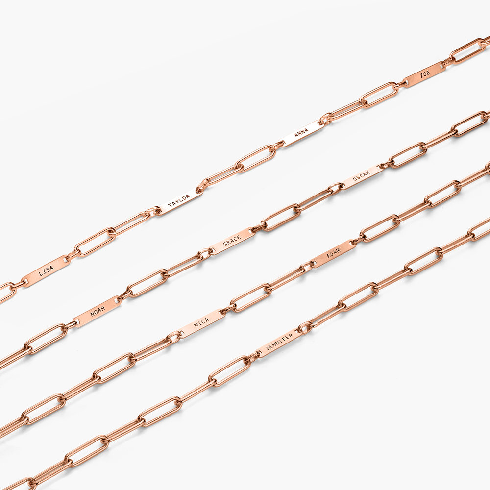 Ivy Name Link Chain Necklace - Rose Gold Plating - 4
