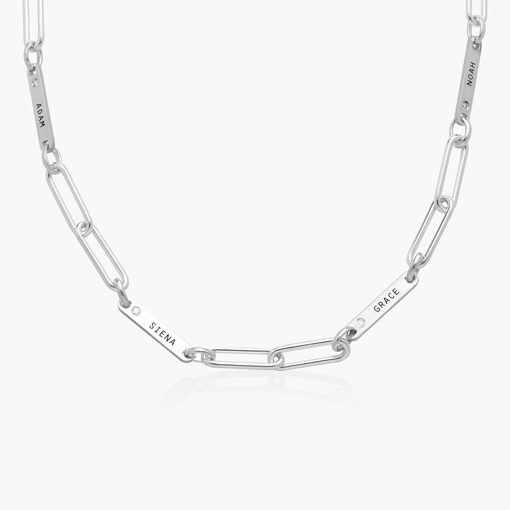 Ivy Name Paperclip Chain Necklace with Diamond - Silver